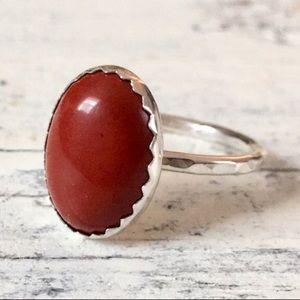 sterling silver rust red jasper ring ✨